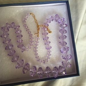 "Crystal looking beaded necklace 30""long"